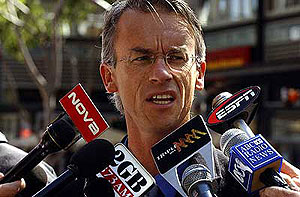 National Rugby League CEO David Gallop at a press conference at NRL headquarters. AAP Image/Mick Tsikas