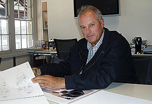 Veteran sailor and boat designer Iain Murray at work in his Sydney office on May 7, 2008. Murray, 50, a former America's Cup designer and helmsman and winner of 10 individual world titles, will be the oldest Australian Olympic debutant in Beijing. AAP Image/John Coomber