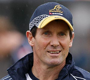 Wallaby coach Robbie Deans watches his team train in Sydney, Australia. AP Photo/Mark Baker
