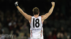Brendon Goddard of St Kilda celebrates on the final siren of the AFL Round 22 match between the Essendon Bombers and the St Kilda Saints at the Telstra Dome. - Slattery Images