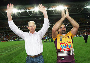 Wayne Bennett and Tonie Carroll (AAP Image/Action Photographics, Colin Whelan)