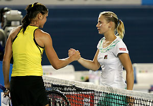 Russia's Dinara Safina shakes hands with Australia's Jelena Dokic after their quarterfinal match at the Australian Open Tennis tournament in Melbourne, Tuesday, Jan. 27, 2009. Safina won the match 6-4, 4-6, 6-4. AAP Image/Stuart Milligan