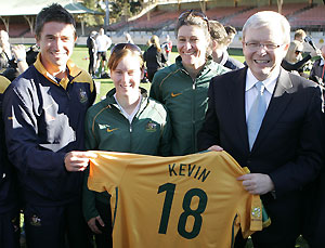 Australian soccer stars Harry Kewell, left, Collette McCallum 2nd left, Cheryl Salisbury, 2nd right, and Australia's Prime Minister Kevin Rudd in Sydney, Australia. AP Photo/Rob Griffith