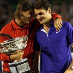 Spain's Rafael Nadal, left, hugs Switzerland's Roger Federer during the awarding ceremony after winning the Men's singles final match at the Australian Open Tennis Championship in Melbourne, Australia, Sunday, Feb. 1, 2009. (AP Photo/Rick Stevens)