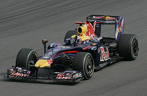Red Bull's Mark Webber, of Australia, celebrates after wining the Brazil's Formula One Grand Prix at the Interlagos race track in Sao Paulo, Sunday, Oct. 18, 2009. AP Photo/Andre Penner