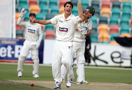 Patrick Cummins appeals for a wicket