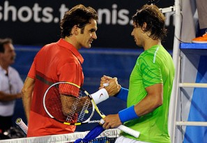 Roger Federer congratulates Rafael Nadal after their Australian Open match