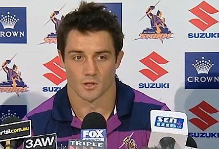 Cooper Cronk at a press conference for the Melbourne Storm