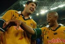 Wallabies Captain John Eales and George Gregan celebrate victory. AAP Image/Dean Lewins