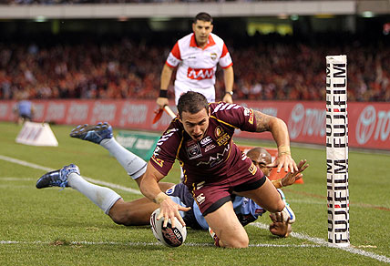 Darius Boyd scores for QLD in Origin 1