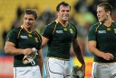 South Africa's Springboks Bismarck du Plessis, Frans Steyn and Heinrich Broussow. AFP PHOTO / Marty Melville