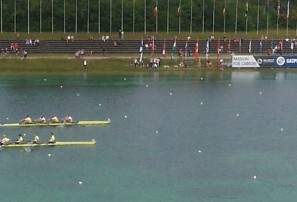 Australia's Mens Four leading in the Munich World Championships
