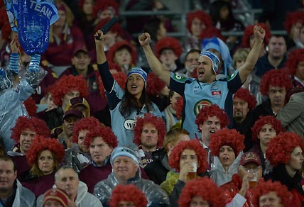 NSW fans cheer for their team