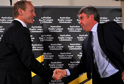 Shane Mattiske shakes hands with David Gyngell after the NRL TV rights deal was sealed