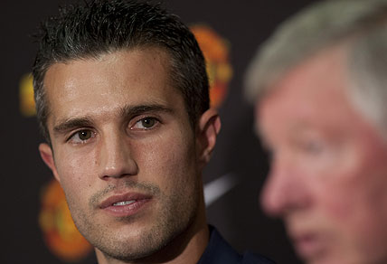 Manchester United's new player Robin van Persie. AP Photo/Jon Super