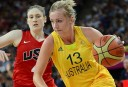 Australian forward Rachel Jarry runs with the ball during the women's semifinal basketball game bewteen Australia and the US. AFP PHOTO /MARK RALSTON