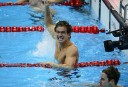 US swimmer Nathan Adrian celebrates next to Australia's James Magnussen