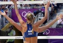 Russia's Anastasia Vasina and Anna Vozakova celebrate at the end of the women's Beach Volleyball preliminary phase Pool B match against Switzerland. Russia won 2-1 AFP PHOTO / DANIEL GARCIA
