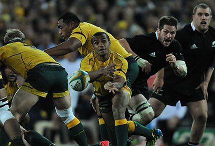 Wallabies Will Genia passes from a scrum. AAP Image/Mick Tsikas