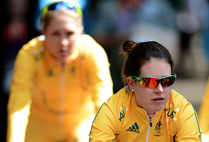 Australia's Amanda Spratt (right) and Shara Gillow. AAP Image/Dean Lewins