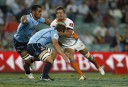 Johan Goosen of the Cheetahs runs into some strong Wallabies defence. (Photo: Paul Barkley/LookPro)