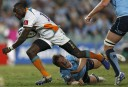 Raymond Rhule of the Cheetahs breaks free from a tackle. (Photo: Paul Barkley/LookPro)