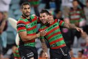 Greg Inglis and Adam Reynolds after Reynolds scored during the NRL Finals for South Sydney Rabbitohs (AAP Image/Action Photographics, Robb Cox) .