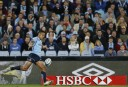 Israel Folau of the NSW Waratahs puts a kick downfield. (Photo: Paul Barkley/LookPro)
