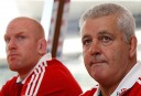 British and Irish Lions captain Paul O'Connell, left, and head coach Warren Gatland attend a news conference in Hong Kong ahead of their match with Barbarians. (AP Photo/Kin Cheung)