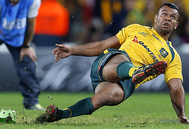 Kurtley Beales infamous slip while attempting to win the game for the Wallabies against the Lions