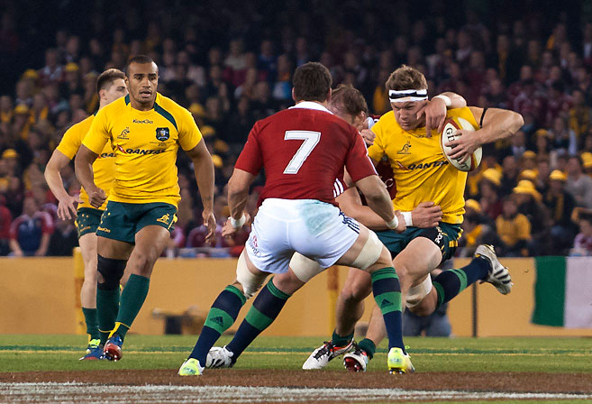 Wallabies vs Lions - Michael Hooper takes a hit up, to be met by Sam Warburton