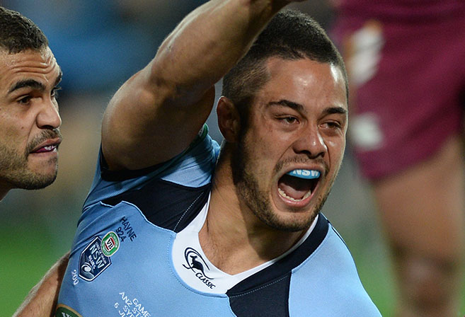 NSW Blues Jarryd Hayne scores the opening try during Game I of the the 2013 State of Origin