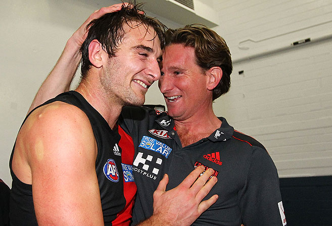 Essendon Bombers coach James Hird celebrates with Jobe Watson. Photo: Will Russell