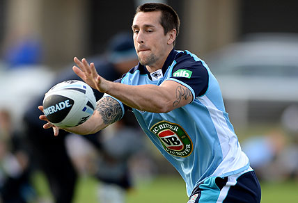 Mitchell Pearce of the NSW Blues. (AAP Image/Dan Himbrechts)