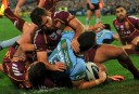 NSW Blues' James McManus scores a try during 2013 State of Origin Game 3 (AAP Image/Paul Miller)