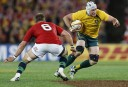 Ben Mowen of the Wallabies tries to find some space. (Photo: Paul Barkley/LookPro)