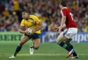 Israel Folau of the Wallabies puts a step on Jamie Roberts of the Lions. (Photo: Paul Barkley/LookPro)