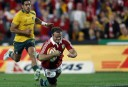 Jamie Roberts of the Lions crosses for a try. (Photo: Paul Barkley/LookPro)