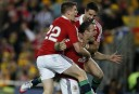 Jamie Roberts of the Lions celebrates a try with his team mates. (Photo: Paul Barkley/LookPro)