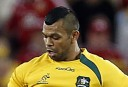 Kurtley Beale of the Wallabies puts a kick downfield. (Photo: Paul Barkley/LookPro)