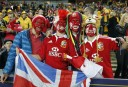 Dedicated Lions fans show their colours before the start of the match. (Photo: Paul Barkley/LookPro)