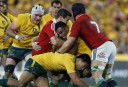 The Wallabies try to push towards their line during the first half. (Photo: Paul Barkley/LookPro)