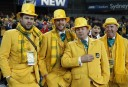 Wallabies fans in their green and gold suits before the start of the match. (Photo: Paul Barkley/LookPro)