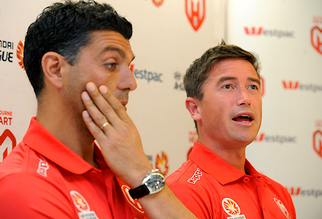 Melbourne Heart coach John Aloisi and new captain Harry Kewell. (AAP Image/Joe Castro)