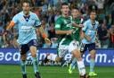 Sydney FC's Alessandro Del Piero celebrates scoring against Newcastle Jets (Image: Peter McAlpine).