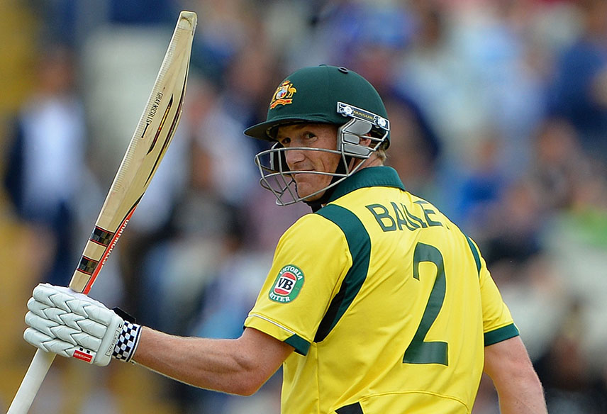 Australia's George Bailey celebrates reaching 50 runs during the 2013 ICC Champions Trophy cricket match between Australia and New Zealand at Edgbaston in Birmingham central England