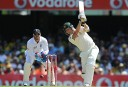 Australian captain Michael Clarke hits out during the first 2010/11 Ashes Test at the Gabba. (AAP Image/Dave Hunt).