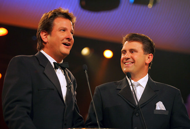Channel Nine cricket commentators Mark Nicholas and Mark Taylor