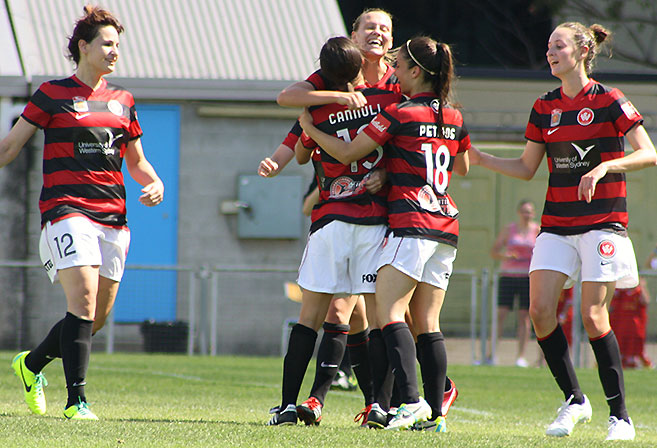 Western Sydney Wanderers' W-League side celebrates the goal of Catherine Cannuli