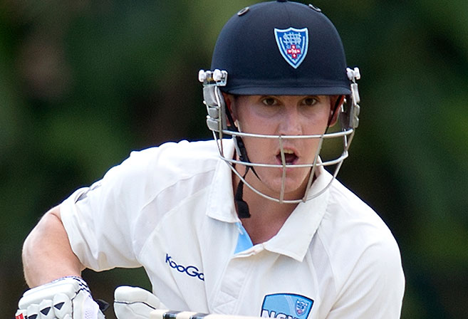 New South Wales opener Nic Maddinson bats on day one of the Sheffield Shield match between Queensland and New South Wales at Allan Border Field in Brisbane, Wednesday, Nov. 13, 2013.